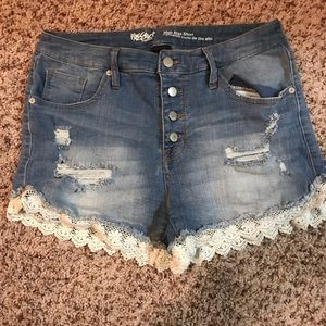 Lace trimmed denim shorts from target (Mossimo)